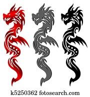 Dragon, tribal tattoo