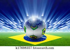 fussball, stadium,, ball,, globe,, fahne, von, brasilien