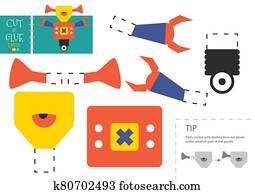 schneiden, und, klebstoff, papier, vektor, toy., niedlich, roboter, zeichen, als, a, pappe ausschnitt, modell