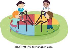 Stickman Kids Playground Spinning Wheel
