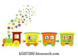 Toy train with happy kids