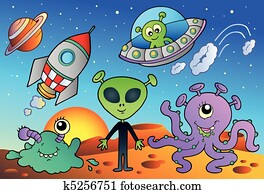Various alien and space cartoons