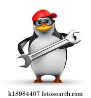 3d Penguin mechanic