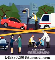 Car Accident Flat Style Illustration