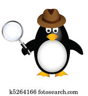 detective penguin with magnifying