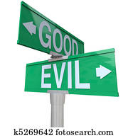 Good Vs Evil - Two-Way Street Sign