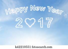 Happy new year 2017 cloud and sunshine on blue sky