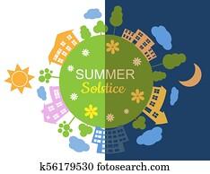 Illustration of summer solstice