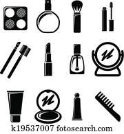 Set of cosmetics icons.