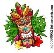 Tiki tribal wooden mask. Hawaiian traditional character