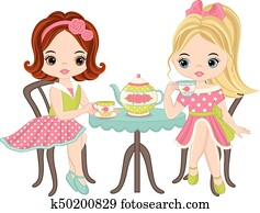 Vector Cute Little Girls Having Tea