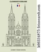 Clermont-Ferrand Cathedral, France. Landmark icon