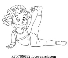 coloring page with girl practicing yoga