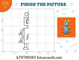 Copy picture vector illustration. Complete and color game for preschool and school kids