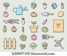 gemüsegarten, und, garten arbeitende ausrüstung, ,vector, symbol