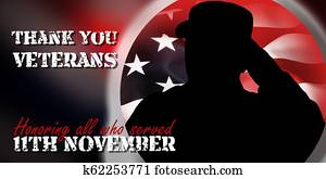 Shiluete of american soulder and USA flag, veterans day concept