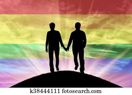 Silhouette of happy couple gay men