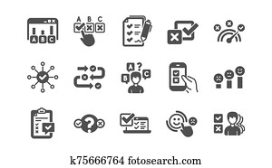 Survey or Report icons. Opinion, Customer satisfaction and Feedback results. Classic icon set. Vector