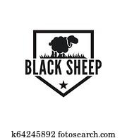 Vintage black sheep logo design inspiration