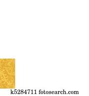 luxus, goldenes, blumen-, tapezieren