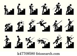 mann klettern, treppenaufgang, treppe