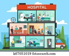 medizinisches büro, rooms., klinikum, bauenden inneres, notfall, klinik, doktor, wartezimmer, und, chirurgie, doktoren, karikatur, vektor, abbildung