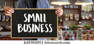 small business concept People Working Startup Business Cafe Owner