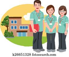 Friendly caregivers with retirement home