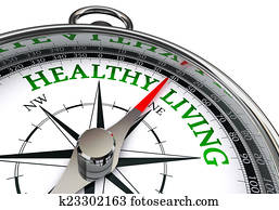 healthy living on concept compass