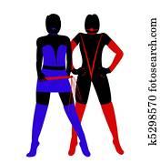 stock illustration of female blindfolded silhouette k5331519
