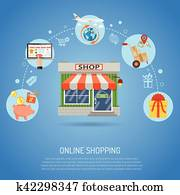 9b0e80cc7 Online shopping concept infographics in vector. Woman from laptop. Online  Shopping Concept