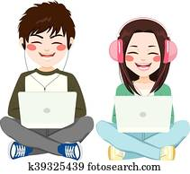 Teenagers With Headphones Laptop Sitting