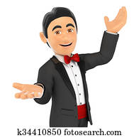 3D Tuxedo man presenting something with their hands up