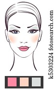 Beauty women face with makeup vector illustration