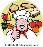 Cartoon Chef cook baker thumbs up