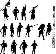 Fourteen Knight Silhouettes