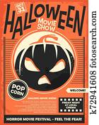 Halloween movie show promo poster template