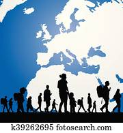 migration people with map in background illustration