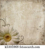 Old vintage shabby background with flower and hearts