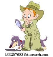 smart young cartoon detective boy