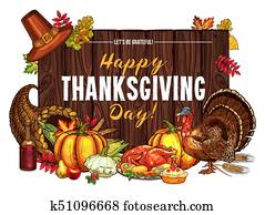 thanksgiving türkei, ernte, vektor, skizze, gru?