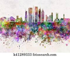 Toronto V2 skyline in watercolor background