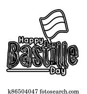 bastille day lettering with flag line style