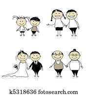 Family relationship - children, young, adults, seniors