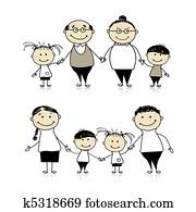 glückliche familie, gemeinsam, -, parents,, gro?eltern, und, kindern