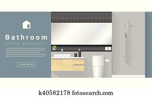 Interior design Modern bathroom background 1