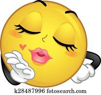 Smiley Mascot Flying Kiss