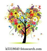 summer, blumen-, tree,, herz gestalt