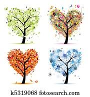 vier jahreszeiten, -, spring,, summer,, autumn,, winter., kunst, baum, herz gestalt, für, dein, design