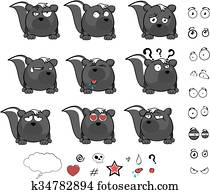 cute skunk ball cartoon expressions